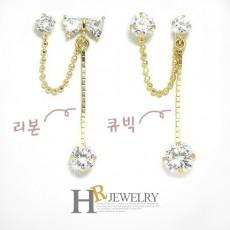 14K 리본 큐빅 투핀 귀걸이(택일)-1pcs
