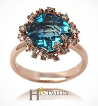 14K 천연 토파즈 다이아몬드 반지