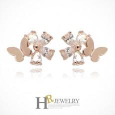 14K 핑크 NO.823 꽃나비 귀걸이